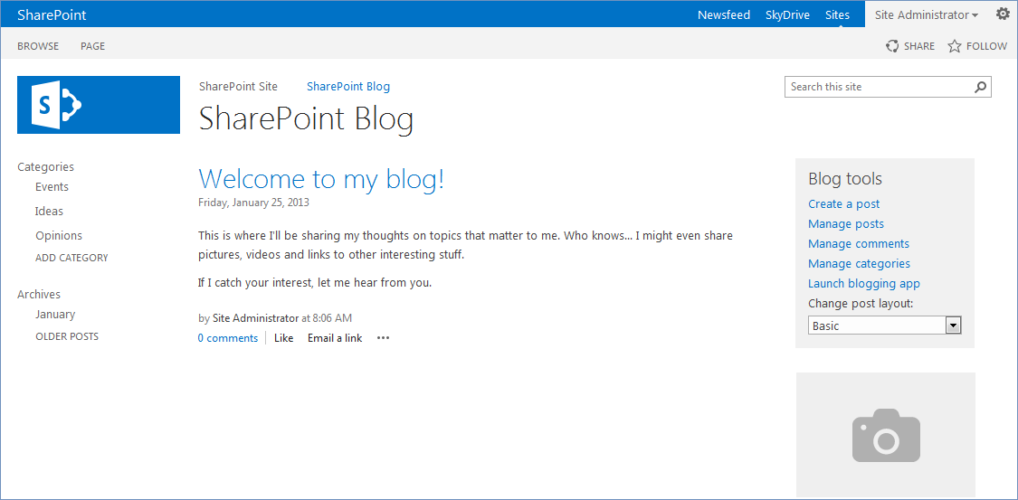 How to create a blog in sharepoint 2013 knowledgebase now you can see your new blog pronofoot35fo Images