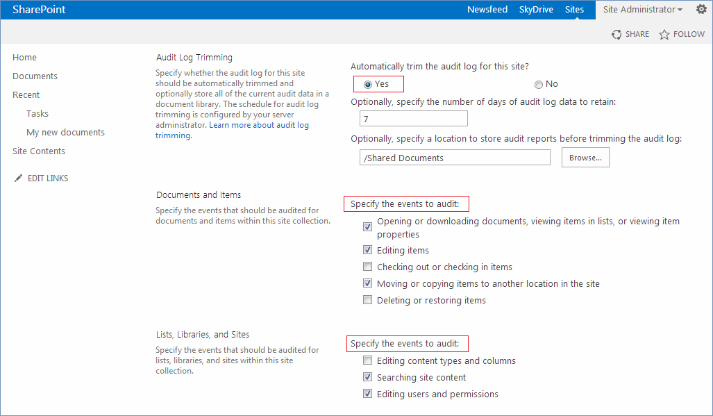 How to enable Audit Log Trimming (how to monitor SharePoint