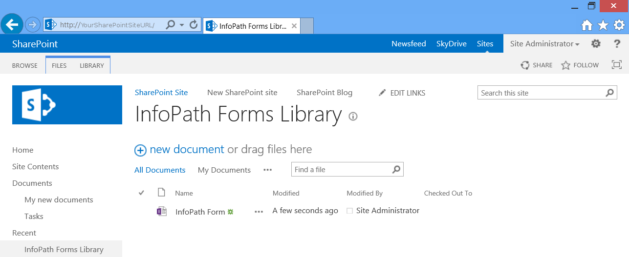 sharepoint 2013 document library template - how to create and publish infopath 2013 template to a