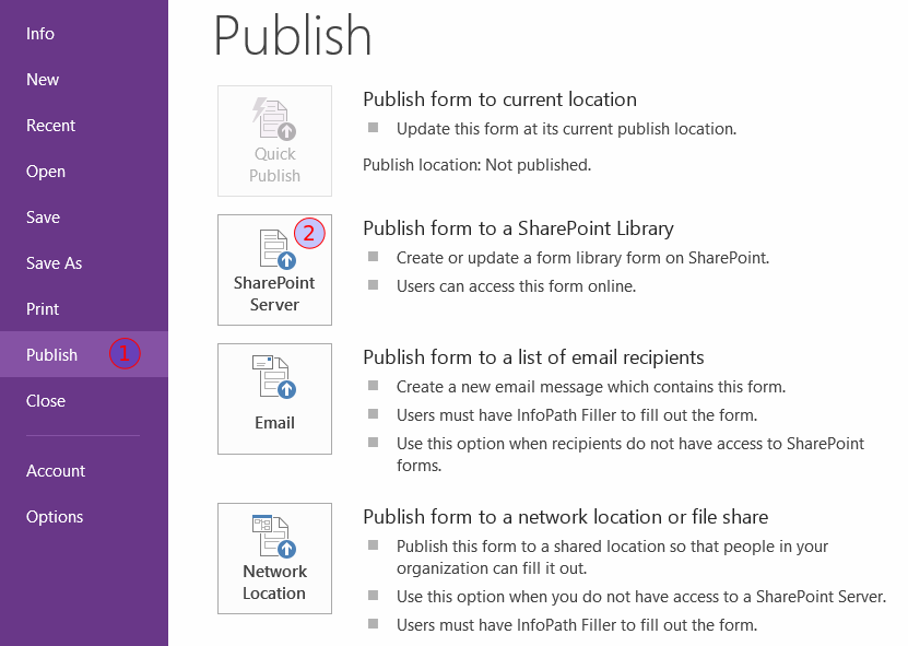 How to create and publish infopath 2013 template to a sharepoint type the url of the sharepoint 2013 site where you want to publish the info path template and click next pronofoot35fo Images