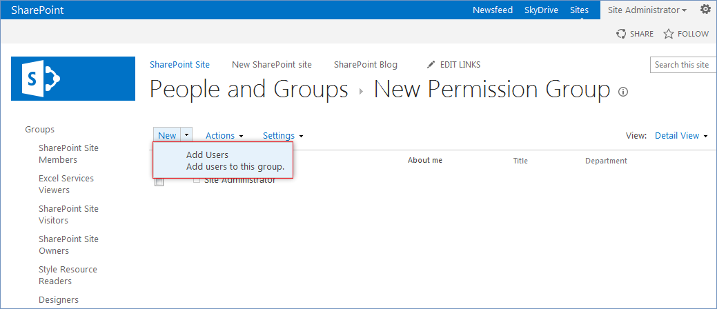 How to create new SharePoint 2013 users group and add users to it