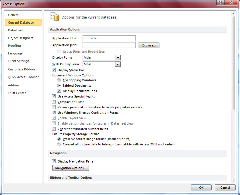 How to create a new navigation form in Access 2010 and set it as default display form ...
