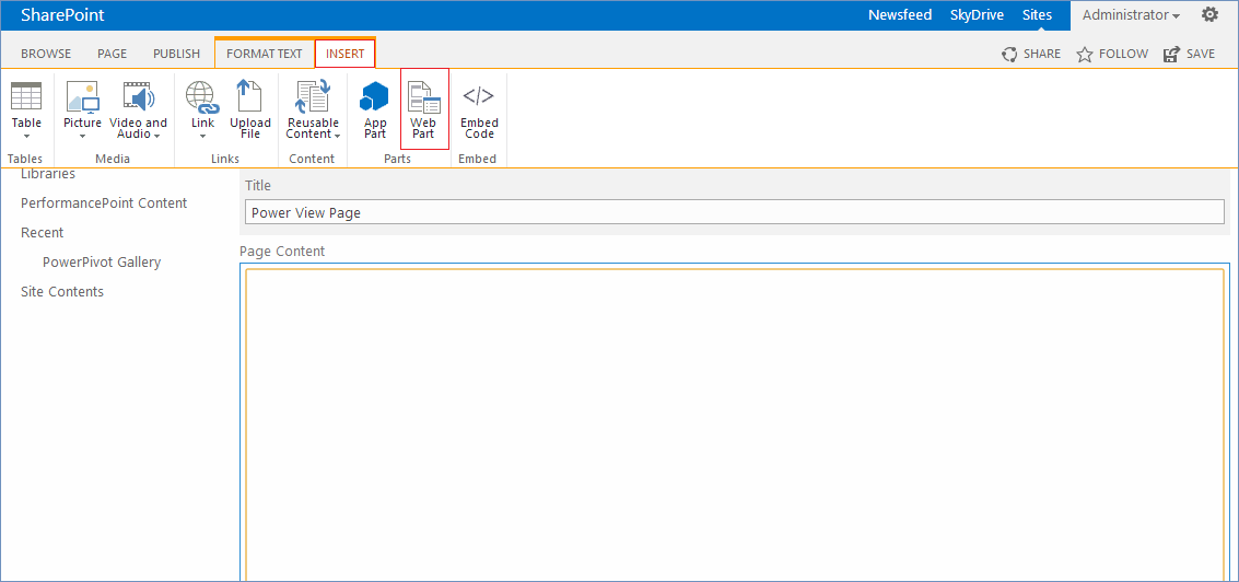 How to show a Power View report at the SharePoint page (Page ...