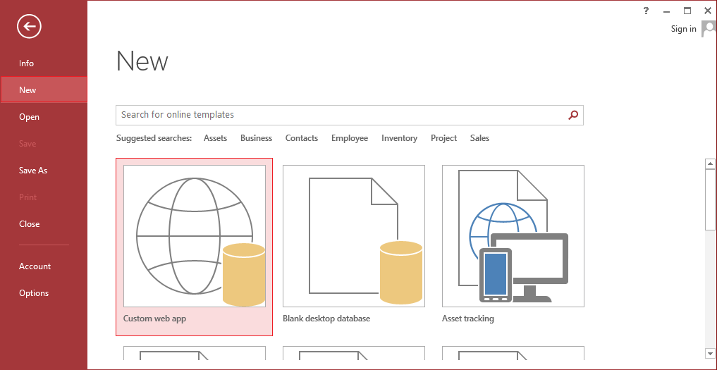 How to create an access 2013 web app and publish it to sharepoint start microsoft access 2013 go to the new tab in the left navigation pane and then select custom web app from the templates or you can use any form the pronofoot35fo Image collections