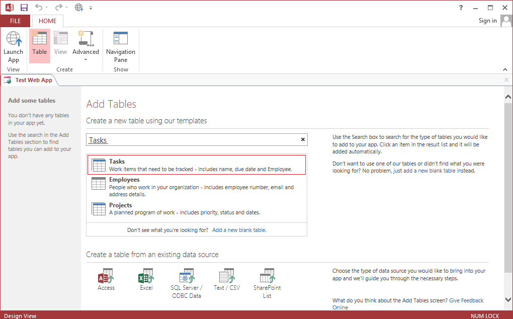 How to create an Access 2013 web app and publish it to SharePoint